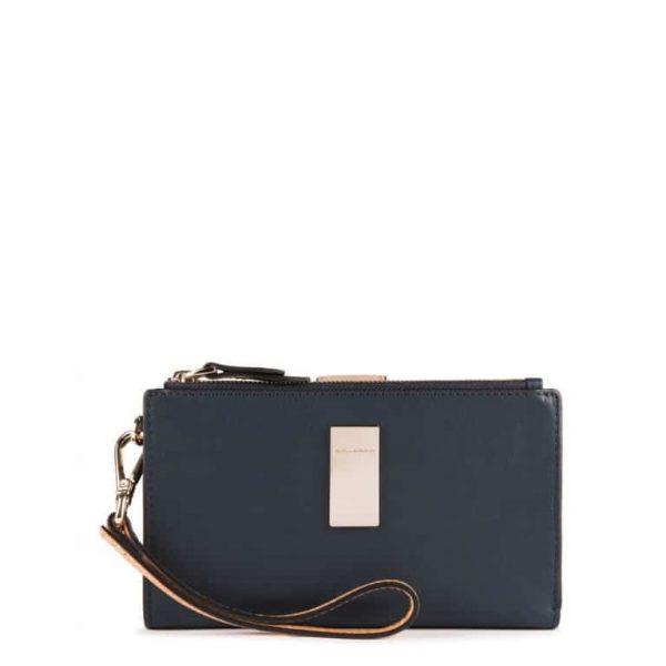Pochette Portafoglio Piquadro per Smartphone Porta Carte di credito Dafne Blu e Azzurro