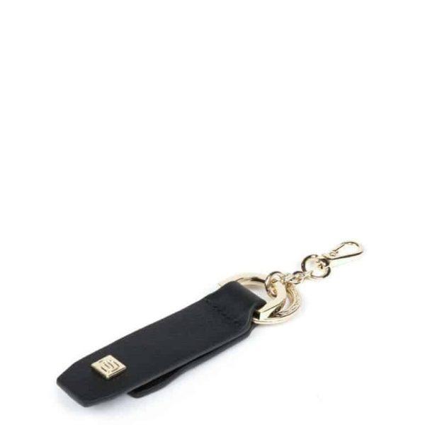 Portachiavi Piquadro in Pelle con Supporto per Smartphone Nero