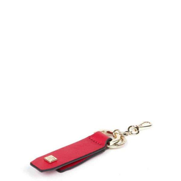 Portachiavi Piquadro in Pelle con Supporto per Smartphone Rosso Intenso