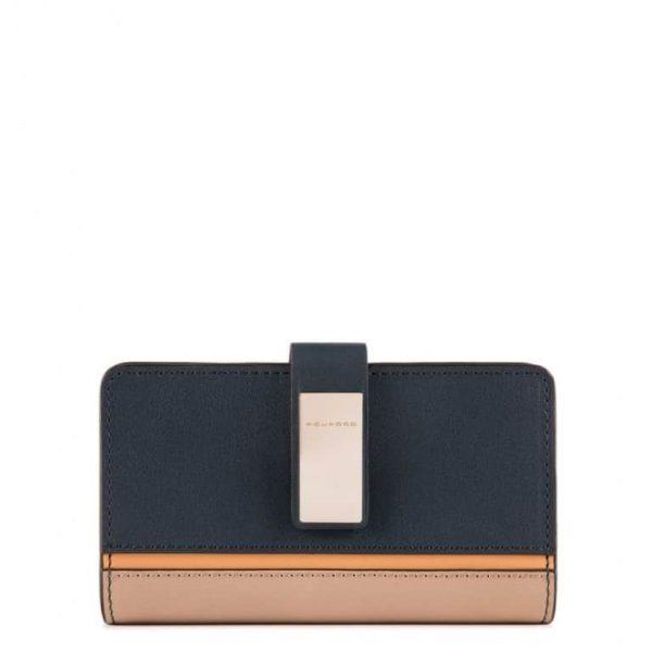 Portafoglio Piquadro Donna con Porta Monete e Porta Carte di Credito in Pelle Dafne Blu Azzurro